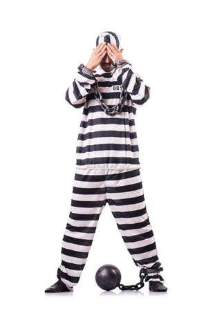 Convict criminal in striped uniform Stock Photo - 18037276