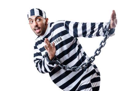 Convict criminal in striped uniform Stock Photo - 18037447