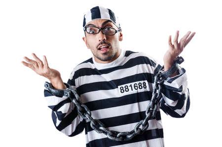 Convict criminal in striped uniform Stock Photo - 18037605
