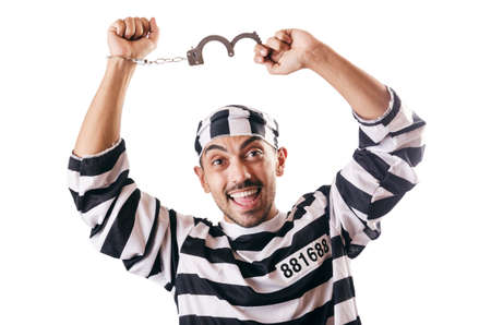 Convict criminal in striped uniform Stock Photo - 18037472