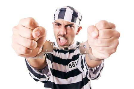 Convict criminal in striped uniform Stock Photo - 18037454