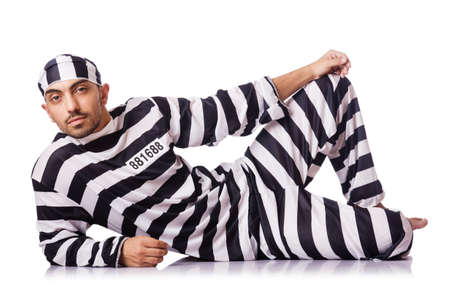 Convict criminal in striped uniform Stock Photo - 18037469