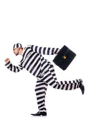 Convict criminal in striped uniform Stock Photo - 18037488