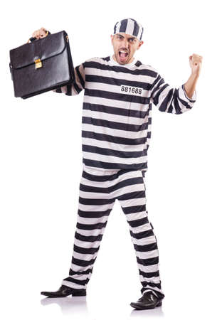 Convict criminal in striped uniform Stock Photo - 18011441