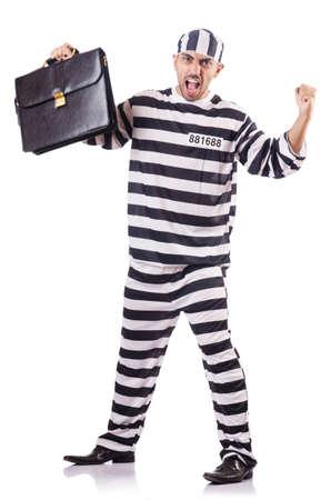 Convict criminal in striped uniform Stock Photo - 18011441