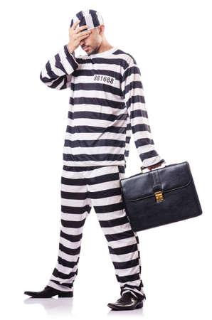 Convict criminal in striped uniform Stock Photo - 18037385