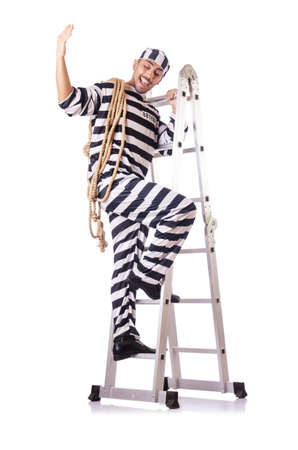 Convict criminal in striped uniform Stock Photo - 18037230