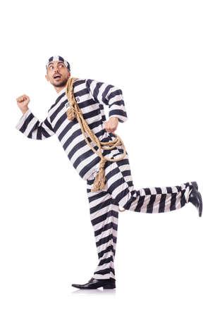 Convict criminal in striped uniform Stock Photo - 18037250