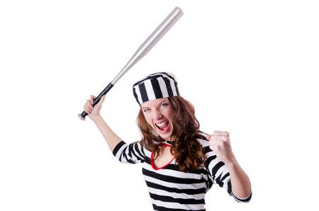 Convict criminal in striped uniform Stock Photo - 18037406
