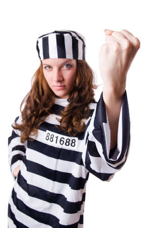 Convict criminal in striped uniform Stock Photo - 18037459