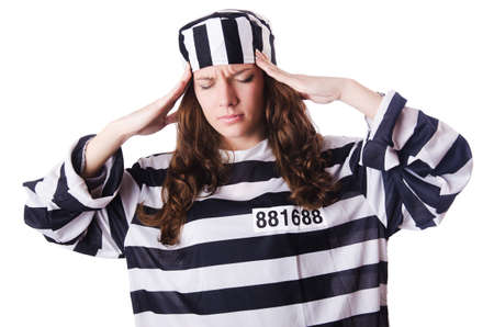 Convict criminal in striped uniform Stock Photo - 18037419