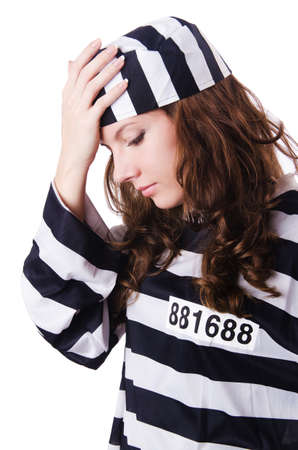 Convict criminal in striped uniform Stock Photo - 18037117