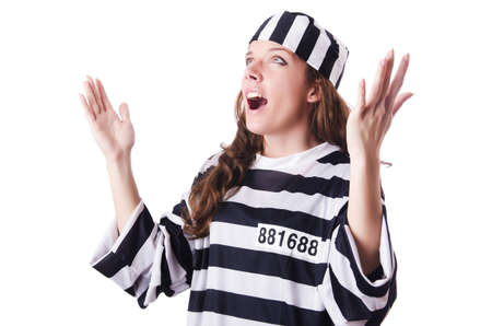 Convict criminal in striped uniform Stock Photo - 18037463