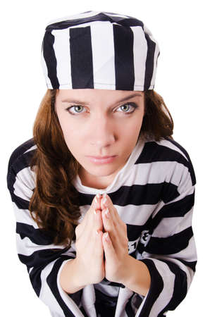 Convict criminal in striped uniform Stock Photo - 18037715
