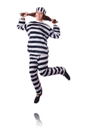 Convict criminal in striped uniform Stock Photo - 18037661