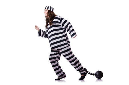 Prisoner in striped uniform on white Stock Photo - 18037684