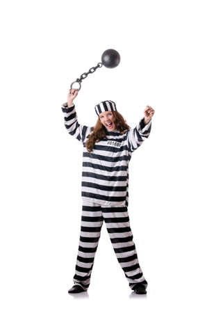 Prisoner in striped uniform on white Stock Photo - 18037667