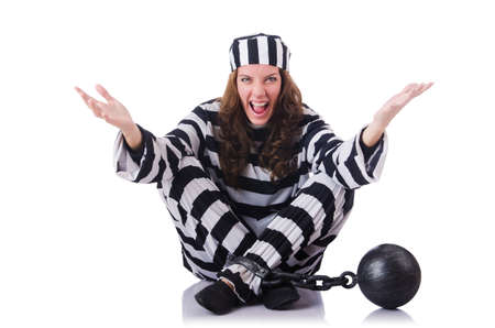 Prisoner in striped uniform on white Stock Photo - 18037358