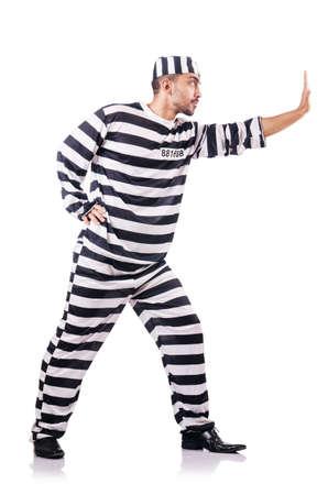 Convict criminal in striped uniform Stock Photo - 18037307
