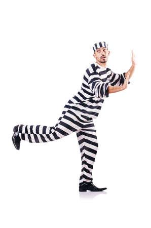 Convict criminal in striped uniform Stock Photo - 18037641