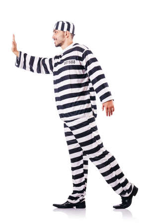 Convict criminal in striped uniform Stock Photo - 18037312