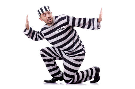 Convict criminal in striped uniform Stock Photo - 18037285