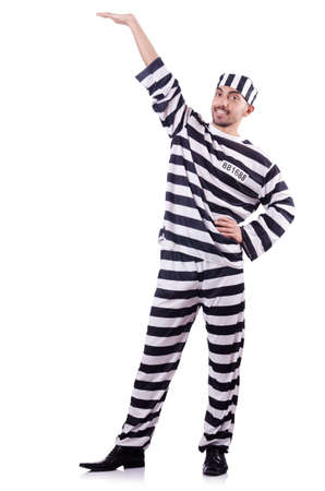 Convict criminal in striped uniform Stock Photo - 18037212