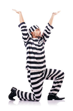 Convict criminal in striped uniform Stock Photo - 18037244