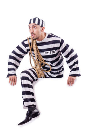 Convict criminal in striped uniform Stock Photo - 18037332