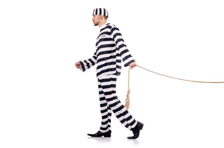 Convict criminal in striped uniform Stock Photo - 18037569
