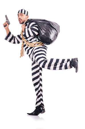 Convict criminal in striped uniform Stock Photo - 18011249