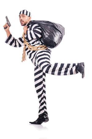 Convict criminal in striped uniform Stock Photo - 18011249