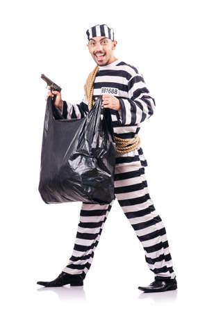 Convict criminal in striped uniform Stock Photo - 18037370