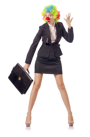 Woman clown in business suit Stock Photo - 18037292
