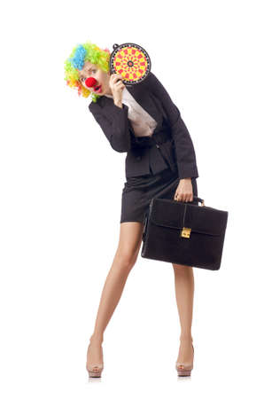 Woman clown in business suit Stock Photo - 18037272