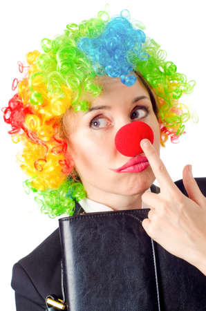 Woman clown in business suit photo