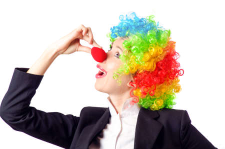 Woman clown in business suit Stock Photo - 18037608