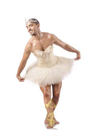 ballet slipper: Man in ballet tutu isolated on white