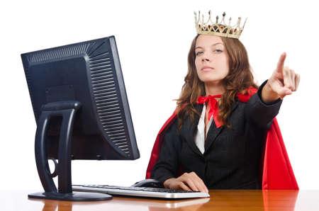 superwoman: Superwoman trabajador con corona trabajando en la oficina Foto de archivo