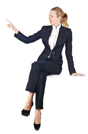 Woman businesswoman sitting on virtual wall Stock Photo - 18037313
