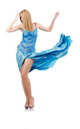 Attractive woman in blue dress on white Stock Photo - 18037679