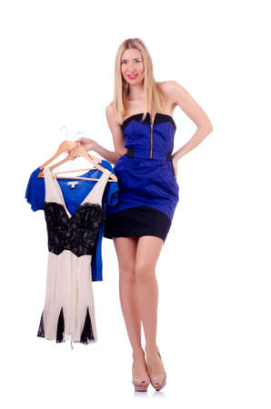 Woman trying new clothing on white Stock Photo - 18037287