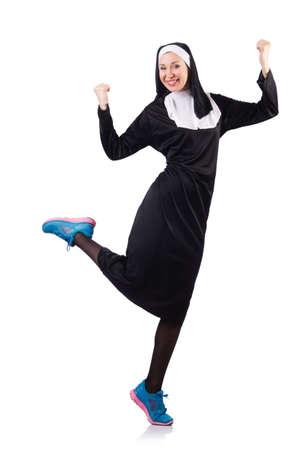 Nun isolated on the white background Stock Photo - 18620955
