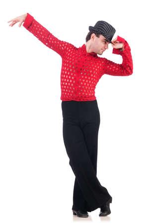 Dancer dancing spanish dances on white photo