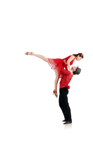 Pair of dancers isolated on the white photo