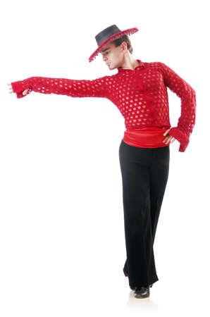 spanish: Man dancing spanish dances on white Stock Photo