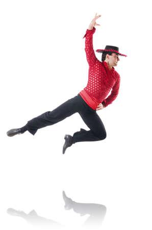 exotic dancer: Man dancing spanish dances on white Stock Photo