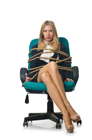 bound woman: Businesswoman woman tied up with rope on white