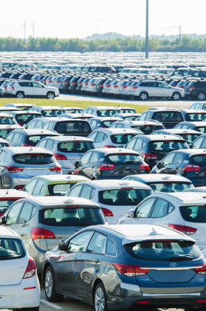 TUSCANY, ITALY - 27 June: New cars parked at distribution center in Tuscany, Italy. This one of biggest distribution centers in Italy. Stock Photo - 18171533