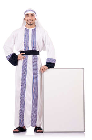 Arab man with blank board for message Stock Photo - 18636554